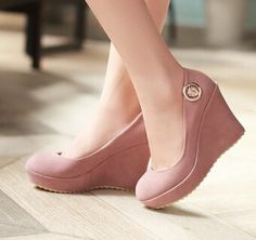5e164f6d842 Women new fashion spring autumn scrub 10cm ultra high heels wedges round  toe shallow mouth shoes large plus size 40-43
