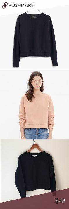 Madewell soft-tech pullover Color is BLACK. Worn once! Perfect condition! ✨✨✨A cropped sweater with a sporty sweatshirt feel, this crewneck pullover was inspired by European street style. Densely woven for a cool, slightly structural look.    Slightly boxy, cropped fit. Nylon. Hand wash. Madewell Sweaters