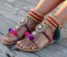 Pompom bohemian sandals-Amazing flat summer sandals – Just Trendy Girls