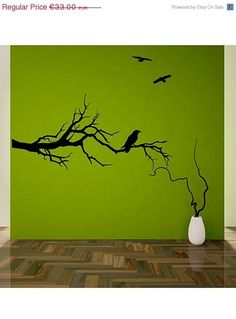 ON SALE Tree branch with ravens wall decal sticker mural Game of Thrones fans