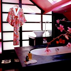 A Taste Of The Orient Pink Oriental Bathroom Decor Darkwood