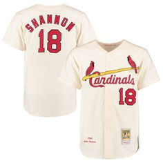 Mike Shannon 1964 St. Louis Cardinals Mitchell & Ness Button Front Authentic Throwback Jersey - Cream - $299.99