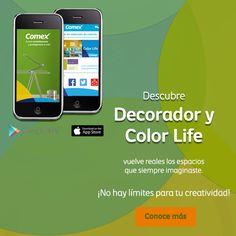 Inspírate y pon manos a la obra para renovar tu hogar. Prueba nuestras apps: #ColorLife y #DecoradorVirtual Disponible en Google Play y App Store. #ComexPinturerías #Apps