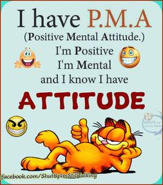 I have P.M.A (Positive Mental Attitude.) I'm Positive I'm Mental and I know I have ATTITUDE