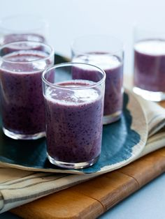 Blueberry and banana buttermilk smoothie.