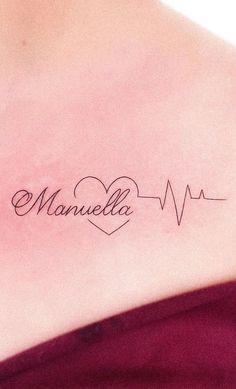 Heart and name Husband Name Tattoos, Name Tattoos On Wrist, Name Tattoos For Moms, Baby Name Tattoos, Mommy Tattoos, Tattoos With Kids Names, Couple Tattoos, Small Tattoos, Son Tattoos