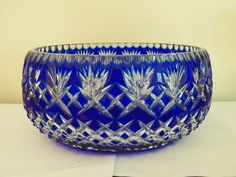 Lg Stunning Cobalt Blue Cut to Clear Bohemian Crystal Glass Centerpiece Bowl Crystal Glassware, Waterford Crystal, Cobalt Glass, Cobalt Blue, Cut Glass, Glass Art, Carnival Glass, Antique Glass, Vintage Glassware