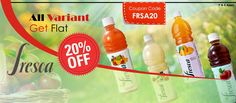 "Fruit drink brand Fresca is a quality natural fruit juice can be used anytime. Buy any Varient and Get Flat 20% Off Using coupon code ""FRSA20"". Fresca is not just about quality taste and refreshment but also it is healthier. Wide range of Fresca products are available at Lalaji24x7."