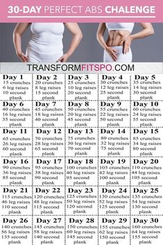 Perfect Abs 30 Day Challenge – One month of workouts to melt belly fat and tone abs! Perfect Abs 30 Day Challenge – One month of workouts to melt belly fat and tone abs! At Home Workout Plan, At Home Workouts, Workout Plans, Monthly Workouts, Fitness Workouts, Short Workouts, Toning Workouts, Slim Yoga, Reto Fitness