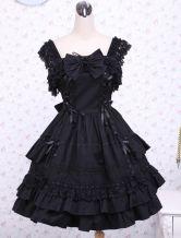 Robe à bretelles lolita en coton noir multicouche - Lolitashow.com