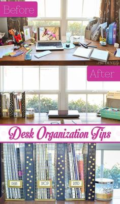 It might seem like you're making things easier on yourself ('It's an organized mess!') but you're subconsciously stressing yourself out. Once a week, throw out any notes, files, business cards, etc. that you'll never need again, says Deleon. For the rest of the stuff, file it away in bins or binders and keep most of those off your desk.