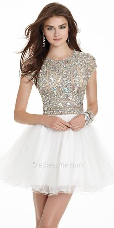 White Homecoming Dresses,High Neck Homecoming Dresses.Tulle Homecoming…