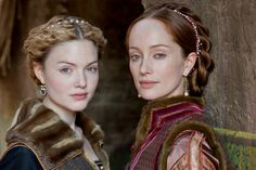 Holliday Grainger as Lucrezia Borgia and Lotte Verbeek as Giulia Farnese in Showtime's 'The Borgias'.