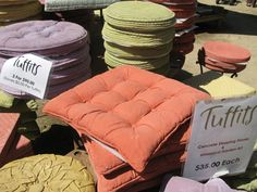 Concrete stepping stones shaped as pillows!