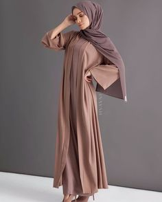 A staple statement kimono in a classic warm mocha, encapsulating an effortless vibrant aesthetic. Warm Mocha Georgette Kimono Pebble Slip Dress Dusty Ash Soft Crepe Hijab www.inayah.co