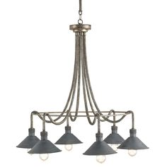 """Pyrite Bronze finishing adorns the rope-like, draping frame of the Damien Chandelier while above each light sits perched a French Black finished metal shade, giving the fixture a pleasing industrial appeal. Comes with three extension rods - 8"""", 14"""" and 20"""" rod.  <b>Material: Wrought Iron Finish: Pyrite Bronze/French Black</b>"""