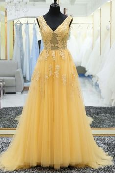 Yellow tulle tulle lace applique V-neck long prom dress, evening dresses by prom dresses, $166.00 USD