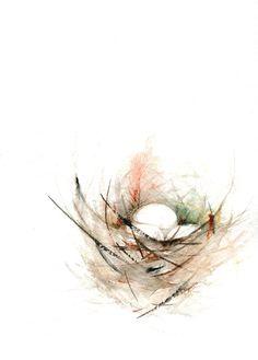 Aves anidan impresión de pintura de acuarela por dearpumpernickel