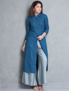 Blue Mandarin Collar Thread Embroidered Matka Silk Kurta
