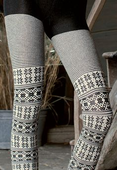 Colder weather = cosy knitted tights! Love both plain or patterned.