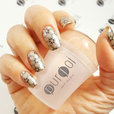 Stamping mani using our Jumbo Clear Nail Art Stamper.   Visit our website at www.purjoinailstudio.com for product details.
