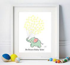 Baby Shower Guest Book Elephant, Fingerprint Guestbook, 1st Birthday Guest Book, Thumbprint Guestbook, Be Brave - DIGITAL Printable Custom