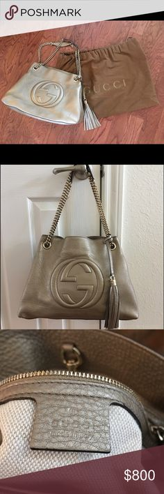 Authentic Gucci Soho Leather Chain Strap Tote This bag is BEAUTIFUL but it makes me sad so it has to go! I bought this at Neiman Marcus for myself as my 10 year wedding anniversary present and now I'm divorced 👎 so I am saying goodbye to this beauty! It just makes me sad to carry it, but it's so beautiful that it needs to be someone's arm candy!!! Gucci Bags Totes