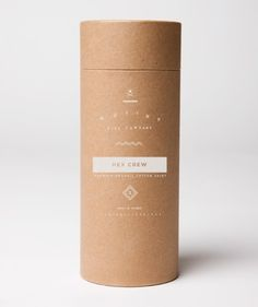 Elegant brown paper elevates minimalist typography in this brilliant package design.