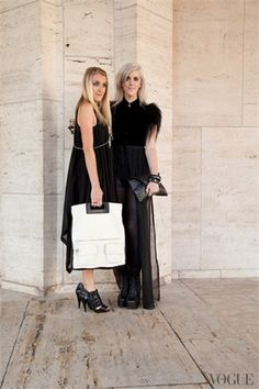 Abigail and Emily of Wanderlust shot outside of Lincoln Center with our Color Block Foldover tote