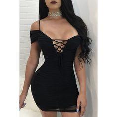 Yoins Black Off-The-Shoulder Shirred Bodies Mini Dress (£15) ❤ d40e7e7e3