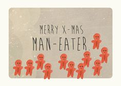 Merry x-mas man-eater. Holiday card. Christmas by TheInvisibleKitten