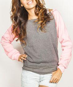 Another great find on #zulily! Pink & Black Raglan Sweatshirt by Banana Split #zulilyfinds