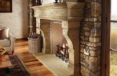 Manufactured stone fireplace mantle/surround. Palacio by ElDorado stone.