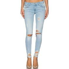 LUCLUC Lightwash Blue Ripped Slim Jeans ($35) ❤ liked on Polyvore featuring jeans, lucluc, distressed jeans, destroyed jeans, slim fit jeans, ripped jeans and destructed jeans