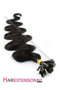 """Nail Tip Human Hair Extensions,16"""" #1B OFF Black Body Wave Nail Tip Human Hair Extensions [NRHBWH161B] - www.hairextensionbuy.com"""