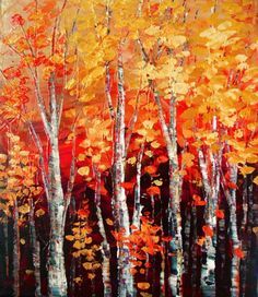Original Palette Knife Forest Painting.  Sides of the canvas are painted black.  Protective coat of satin varnish applied. The painting is signed on the front and the back. Certificate of auth...