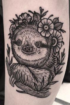 Animal Thigh Tattoo, Animal Tattoos, Black Ink Tattoos, Body Tattoos, Real Tattoo, Tattoo Ink, Blackwork, Sloth Tattoo, Taboo Tattoo