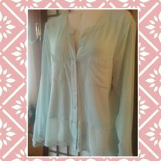 Nwt The limited top sz lg Nwt the limited minty green top. Sheer sleeve and small part of  top and bottom. Rest is a soft fabric. So pretty. Sz lg The Limited Tops Blouses