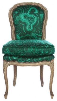 Emerald, Malachite Chair, Emerald Color of InStyle Decor Beverly Hills Tony Duquette Luxury Home Decor, Luxury Homes, Eclectic Chairs, Little Green Notebook, Luxury Lighting, Take A Seat, Color Of The Year, Malachite, Luxury Furniture