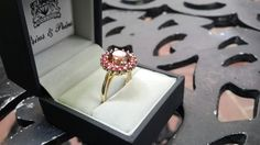Handmade yellow Gold Tourmaline and Ruby Ring Cluster Setting Diamond Earrings, Stud Earrings, Gemstone Rings, Yellow, Gold, Handmade, Jewelry, Hand Made, Jewlery