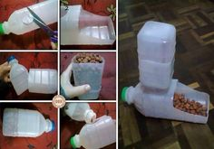 Plastic bottles can be used for food and water bowls for stray dogs and cats.