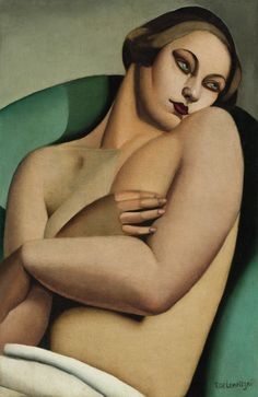 Nu adosse...by Tamara de Lempicka, tempestuous artist from the Jazz Age with a unique style.  #tcarter2012