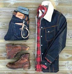 Jaqueta Jeans Masculina: Pra Inspirar e Onde Encontrar - Signal Tutorial and Ideas Casual Outfits, Men Casual, Fashion Outfits, Mens Fashion, Fashion Hats, Casual Shirt, Cheap Fashion, Fashion Ideas, Bottes Red Wing