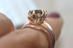 Rose Gold Diamond 5 ct Peridot Engagement by KimberlysTreasures Peridot Rings, Peridot Engagement Rings, Antique Engagement Rings, Gold Wedding, Wedding Bands, Antique Roses, Halo Rings, Be My Valentine, Favorite Color