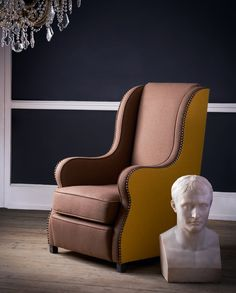 A bespoke, two tone arm chair upholstered in Linwood Lana Italian wool with stud detail Upholstered Chairs, Wingback Chair, Armchair, Marble Bust, Modern Interior Design, Bespoke, Accent Chairs, Lounge, Napoleon