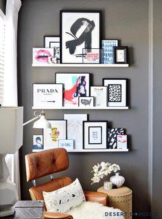 11 tips på hur du skapar en snygg och trendig tavelvägg – Hus & Hem. Med tavelhyllor eliminerar du det något krångliga momentet med att få alla krokar på rätt plats på väggen. Det är också riktigt snyggt att kunna låta tavlorna överlappa varandra så här.