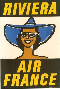 Air France - Riviera / poster by Dorrit Dekk from 1953