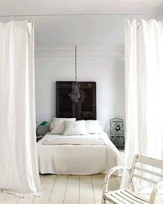 loft curtains \ decor, interior, hanging curtains, loft, white bedrooms, hous, bedroom curtains, homes, room dividers