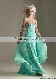 Sweetheart beading bodice A-line chiffon gown for