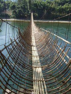 Hanging Bamboo Bridges On The Siang River, Arunachal Pradesh